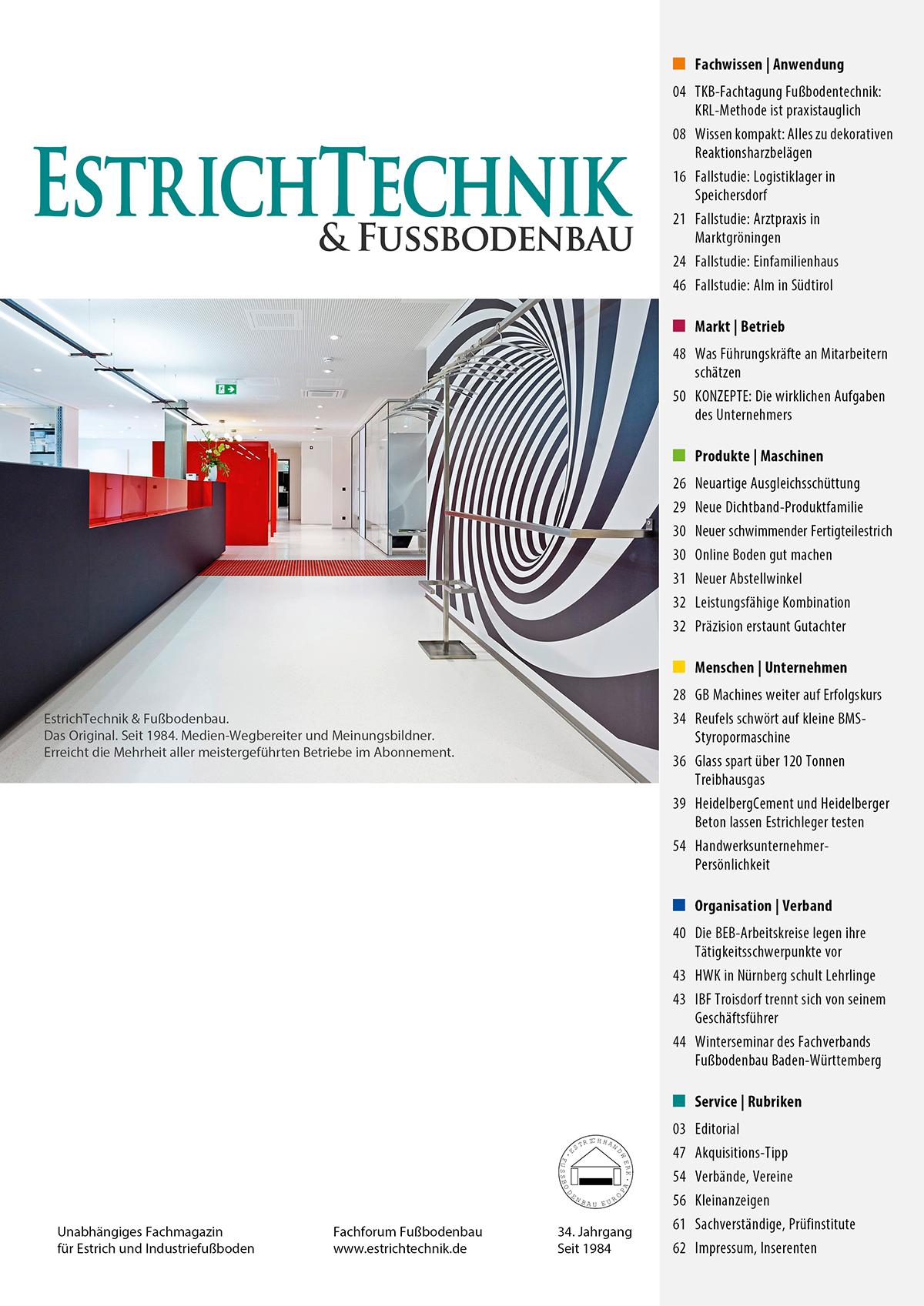 Cover EstrichTechnik & Fußbodenbau 2/2018