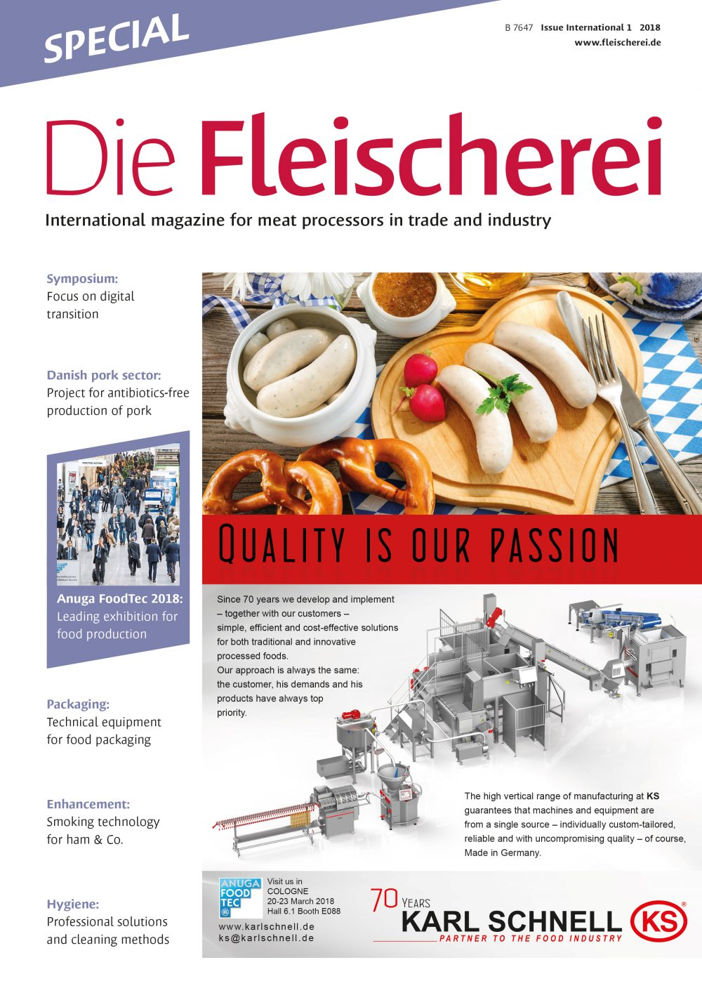 Cover Die Fleischerei International 1/2018