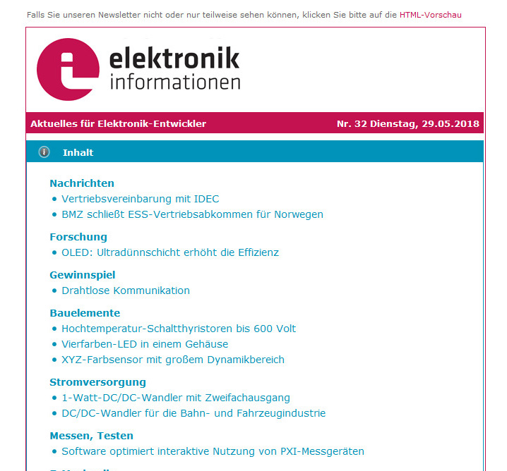 elektronik informationen Newsletter