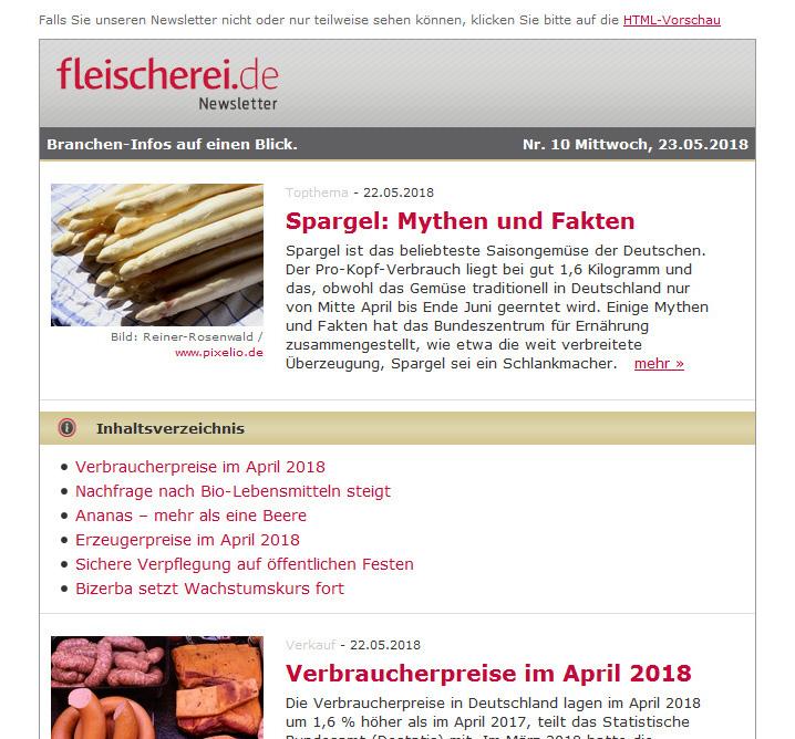 Die Fleischerei Newsletter