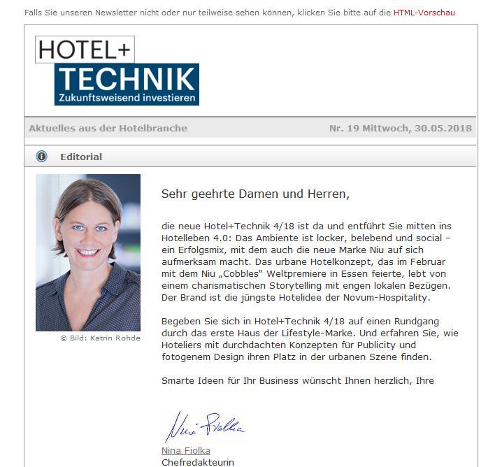 HOTEL+TECHNIK Newsletter