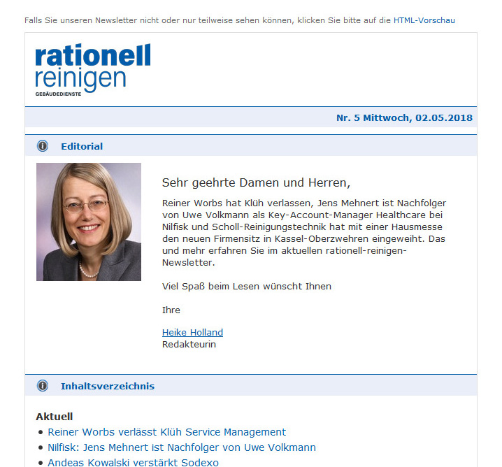 rationell reinigen Newsletter