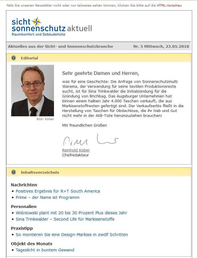 sicht+sonnenschutz Newsletter