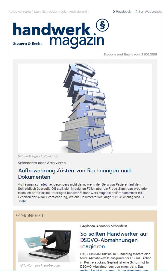handwerk magazin Newsletter Steuern & Recht