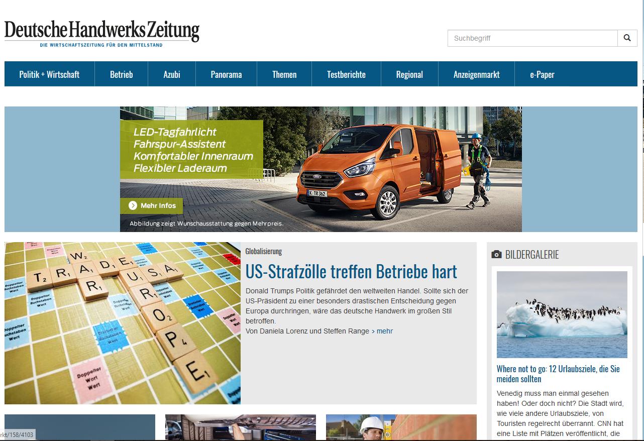 Deutsche Handwerks Zeitung Webseite