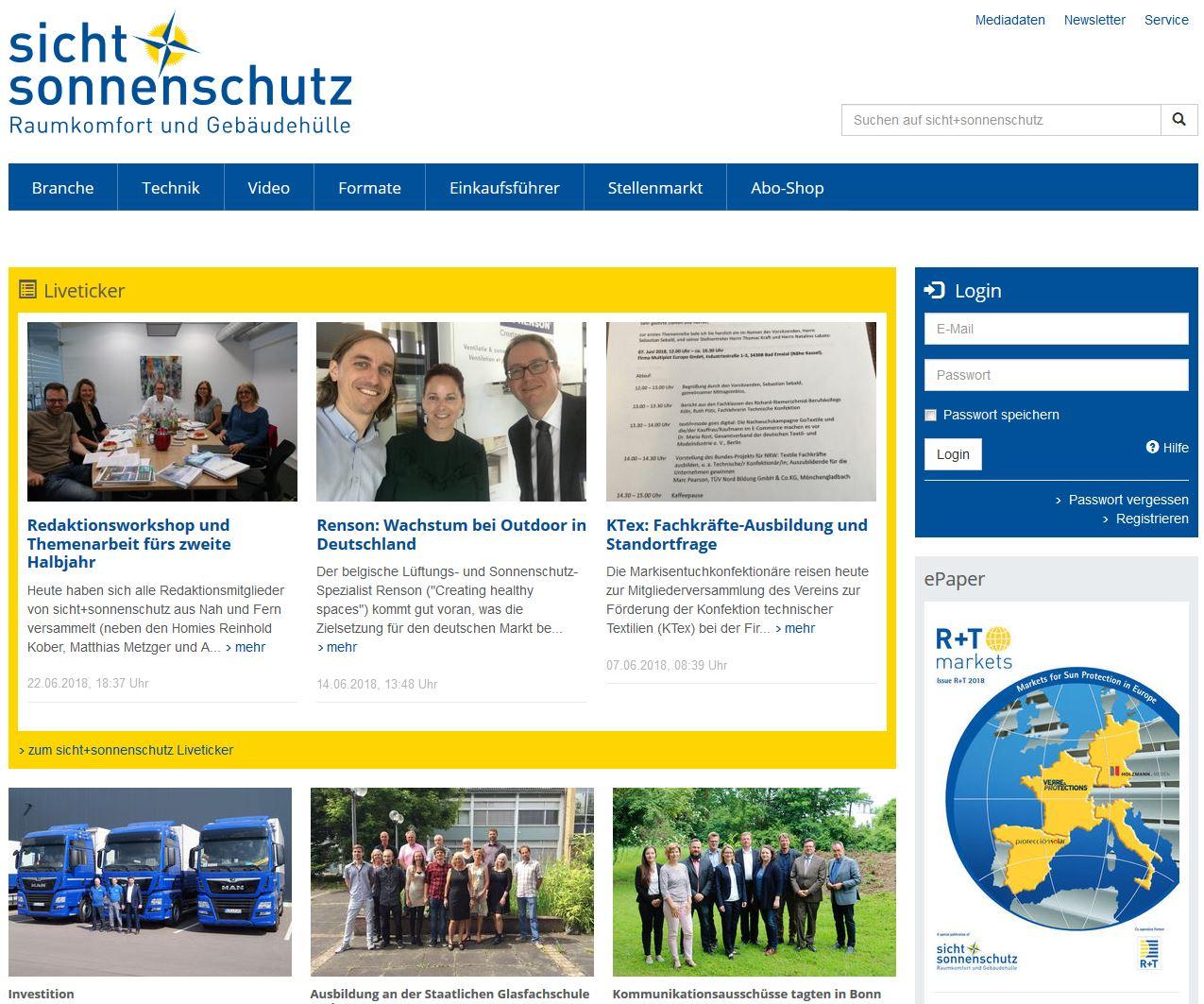sicht+sonnenschutz Webseite